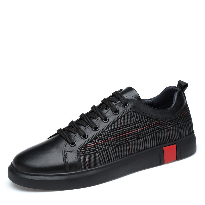 Mr Smile Genuine Leather Sport Casual Striped Superstar Shoes Lace-up Rubber Oxfords Tenis Walking Sneakers Mens Black Shoe 46 lace up striped blouse