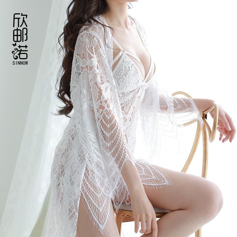 High quality sexy sleepwear Women Hollow lace suspender sleepwear + bathing Nightdress cardigan Extreme temptation Robe & Gown