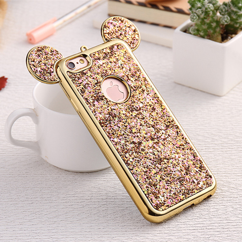 Bling Paillettes Soft TPU Phone Case For iPhone 8 7 Plus Mickey Ear Protective Glitter Phone Case for iPhone 6 6s iPhone X Plus