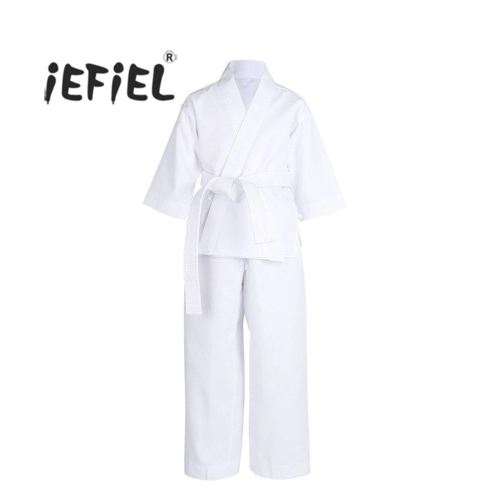 Iefiel/3 шт. Дети Студент равномерный Каратэ с белым поясом легкий костюм Training Костюмы костюмы Производительность