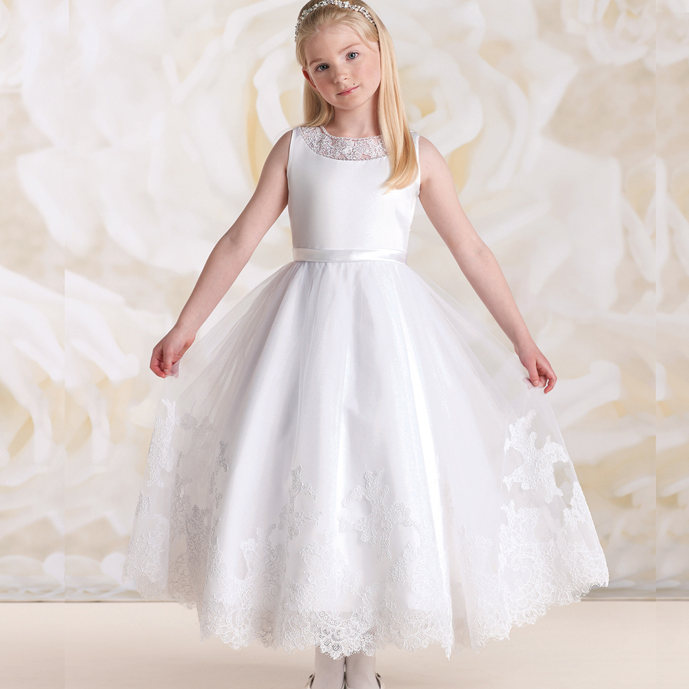 2017 Lace Flower Girls Long Dresses For Weddings Appliques Tulle Satin Pageant Dresses For Girls Custom Made dress girl pageant dress long sleeves and appliques satin white ivory flower girl dresses for wedding custom made new arrival hot