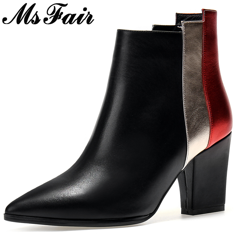MsFair Pointed Toe High Heel Women Boots Fashion Square heel Ladies Ankle Boots 2017 Winter Zipper Mixed Colors Women's Boots nemaone 2018 women ankle boots square high heel pointed toe zipper fashion all match spring and autumn ladies boots