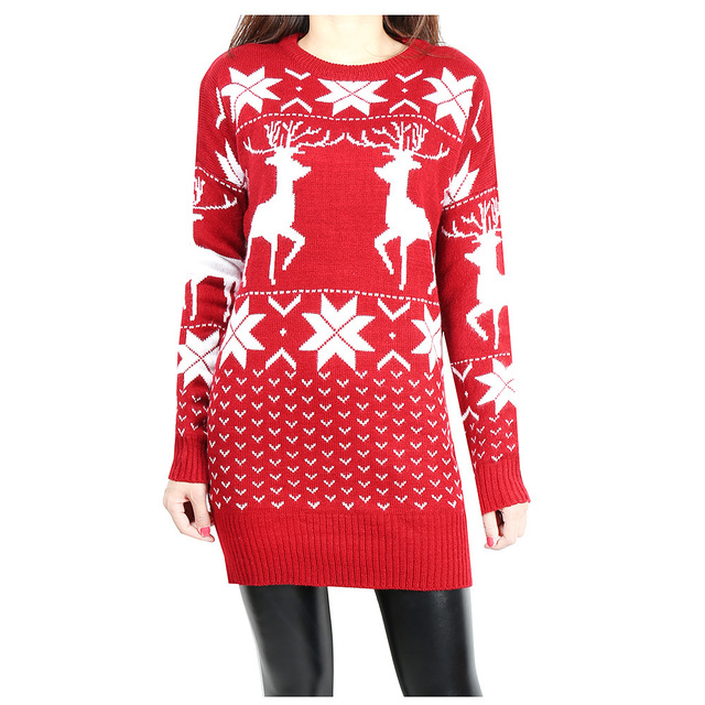 f29d4001bf270f Autumn Winter Dress Christmas Snowflake Pattern Deer Thick Warm Slim Wool  Knitted Sweater Dress Pullover Women Festival Vestidos
