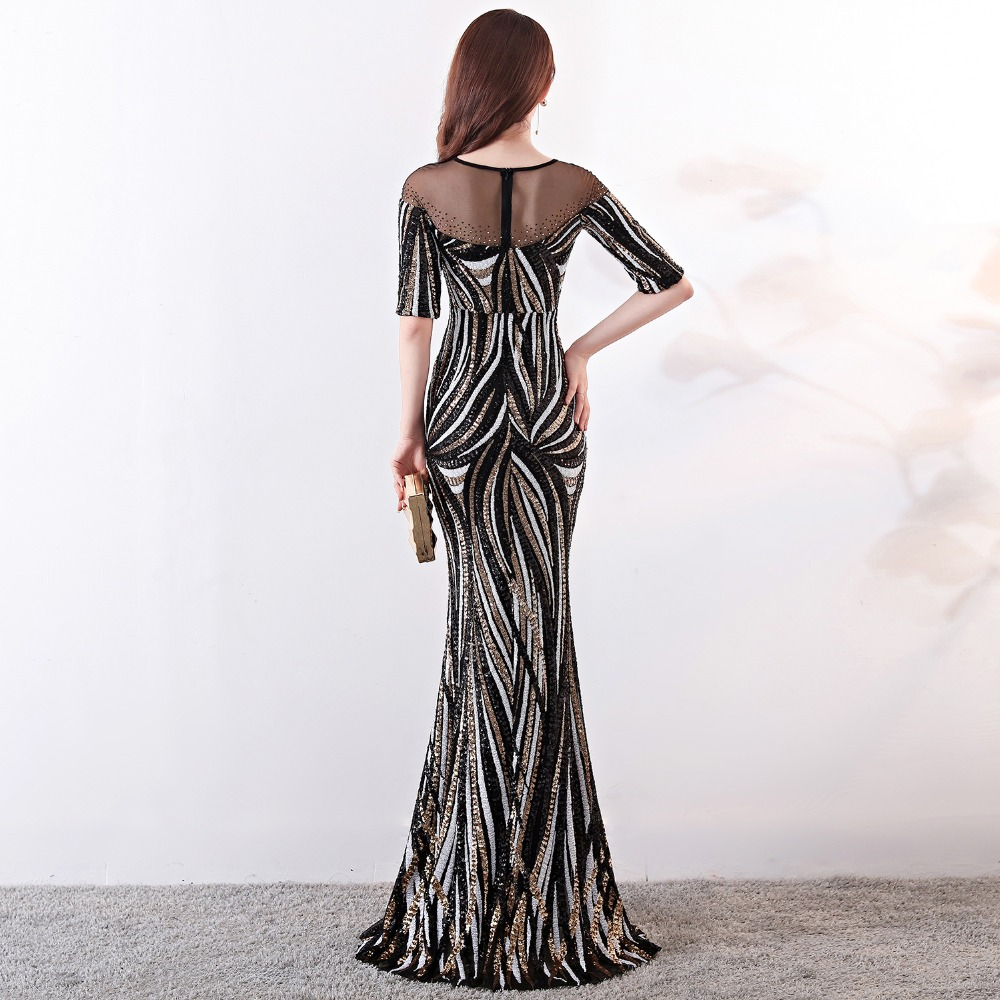 Elegant Crystal Beaded See Through Voile Shor Sleeve Mermaid Long Formal Dresses For Women 2018 Sexy Nightclub Wear Party Dress (23)