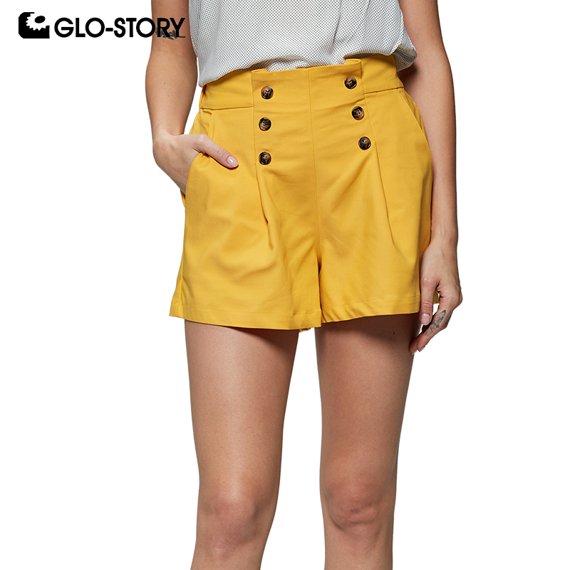 GLO-STORY 2019 Summer Women Solid Button Elastic Waist Office Ladies Work Wear Shorts Ladies Bottoms WMK-7979