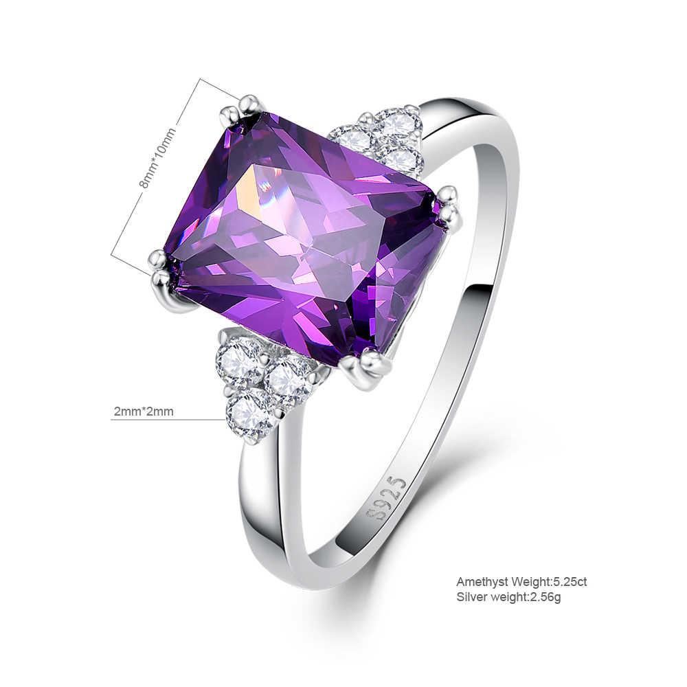 เครื่องประดับ Vintage 5.25ct Amethyst 925 เงินสเตอร์ลิงแหวนมรกตสีม่วงหินธรรมชาติผู้หญิงแต่งงาน Anel Aneis แหวนอัญมณี