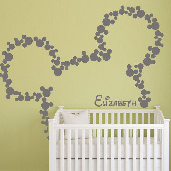 Minky Mouse Wall Sticker DIY Custom Name Wall Decal Kids Room ...