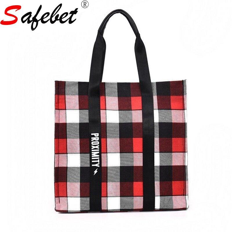 SAFEBET Classic Black White Red Lattice Women Girl Travel Storage Bag Large Capacity Casual Canvas Handbag Zipper
