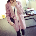 Korean Style Autumn Winter Latest Fashion Women Coat High-end Sweater Knitting Cardigan Pure color Loose Long Sweater CoatG0468