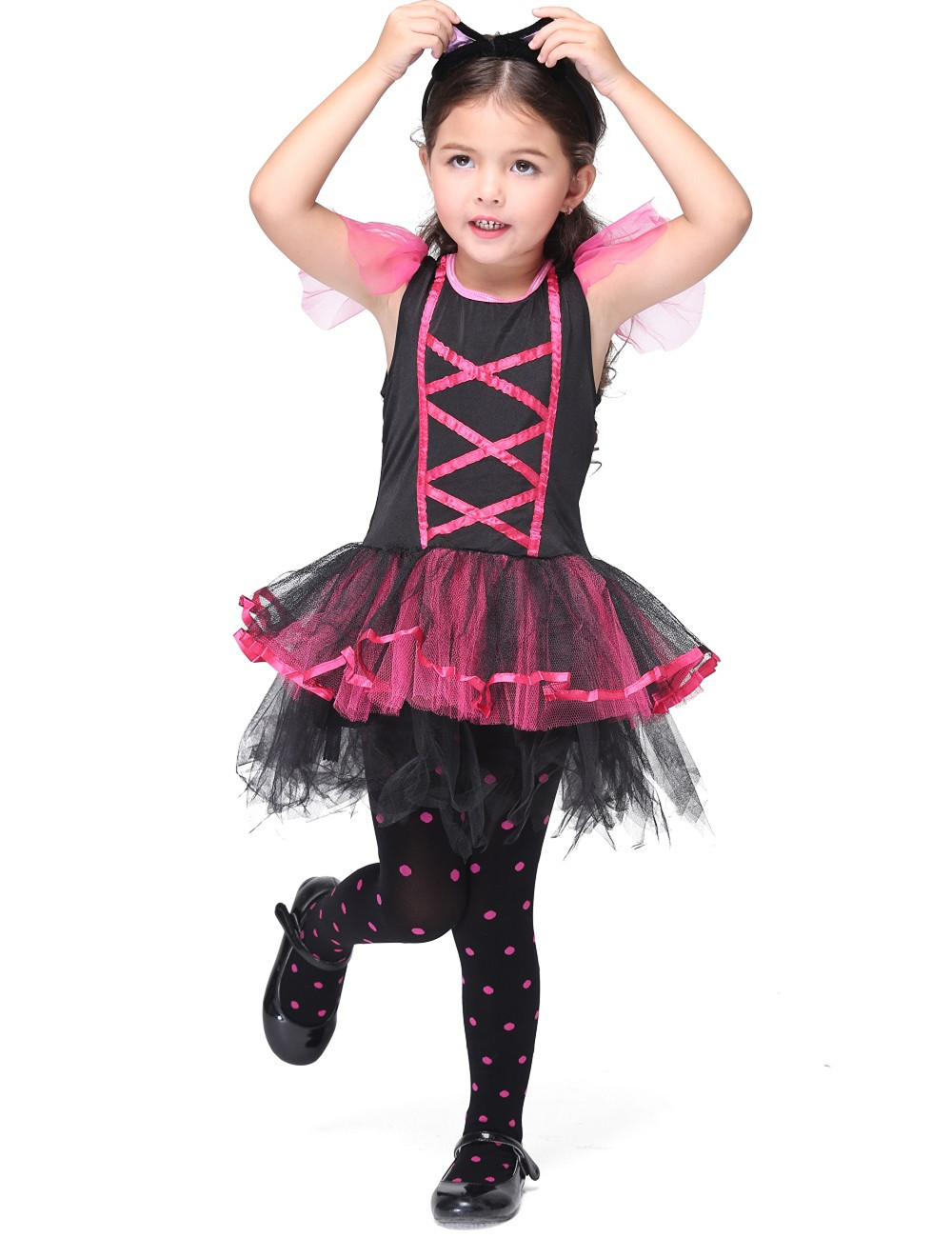 Children Girls Catwoman Dress Costume Halloween Costume for Kids Stage & Dance Wear Dress Toddler Summer Short Sleeve Skirt