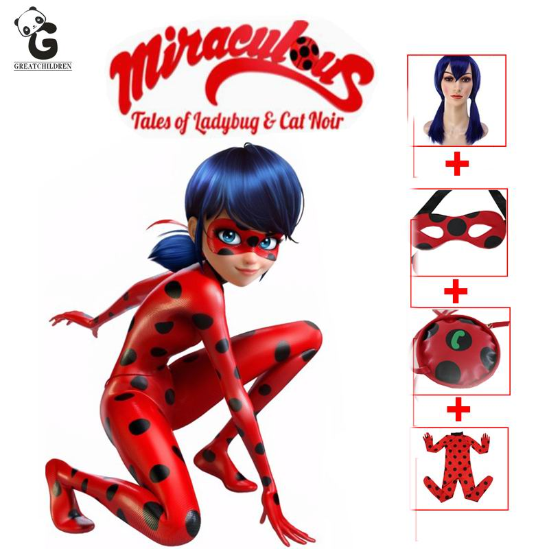 miraculous ladybug girls cosplay costumes halloween christmas costumes for girls wig kids ladybug marinette cosplay girls
