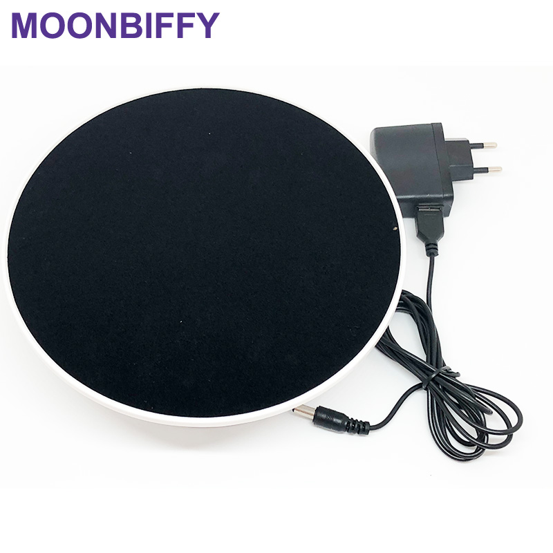 20cm 360 Degree Electric Rotating Turntable Display Stand for Photography Max Load 1.5Kg video shooting props Turntable Battery stylish black velvet top electric motorized rotary rotating turntable for display or advertising stand 360 plastic battery