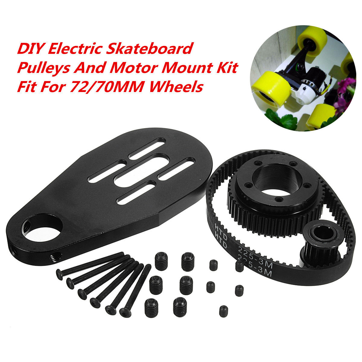DIY Electric Skateboard Kit Parts Pulleys + Motor Mount +Belt For 72/70MM Wheels Skate Board PulleyDIY Electric Skateboard Kit Parts Pulleys + Motor Mount +Belt For 72/70MM Wheels Skate Board Pulley