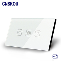 SANKOU Wall Light Touch Sensor Switches 3Gang2Way Golden Glass Panel LED US AU Standard Touch Switch