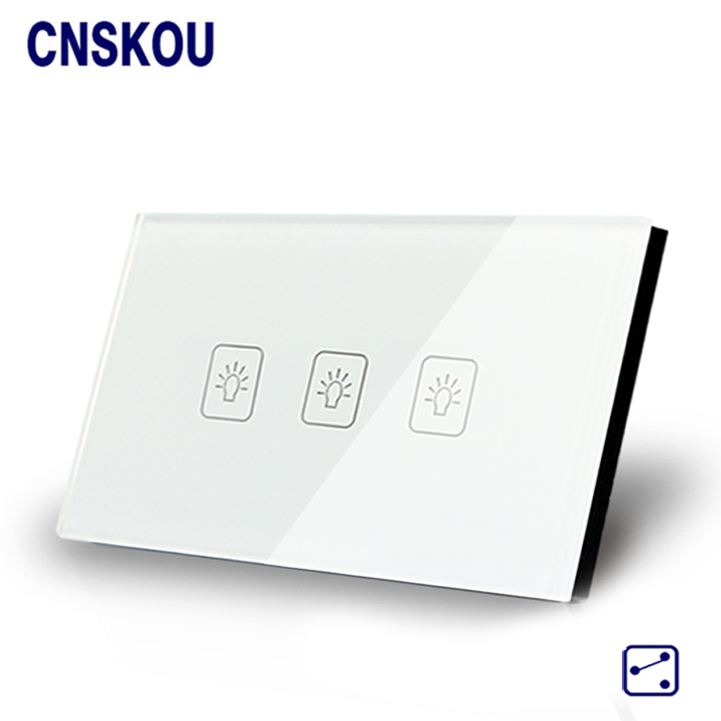 Cnskou Wall Light Touch Sensor Switches 3Gang2Way Golden Glass Panel+LED US/AU Standard Touch Switch AC110V-250V Manufacturer manufacturer smart home white crystal glass panel us au wall light touch switch 2 gang 1 way power 110 250v with led indicator