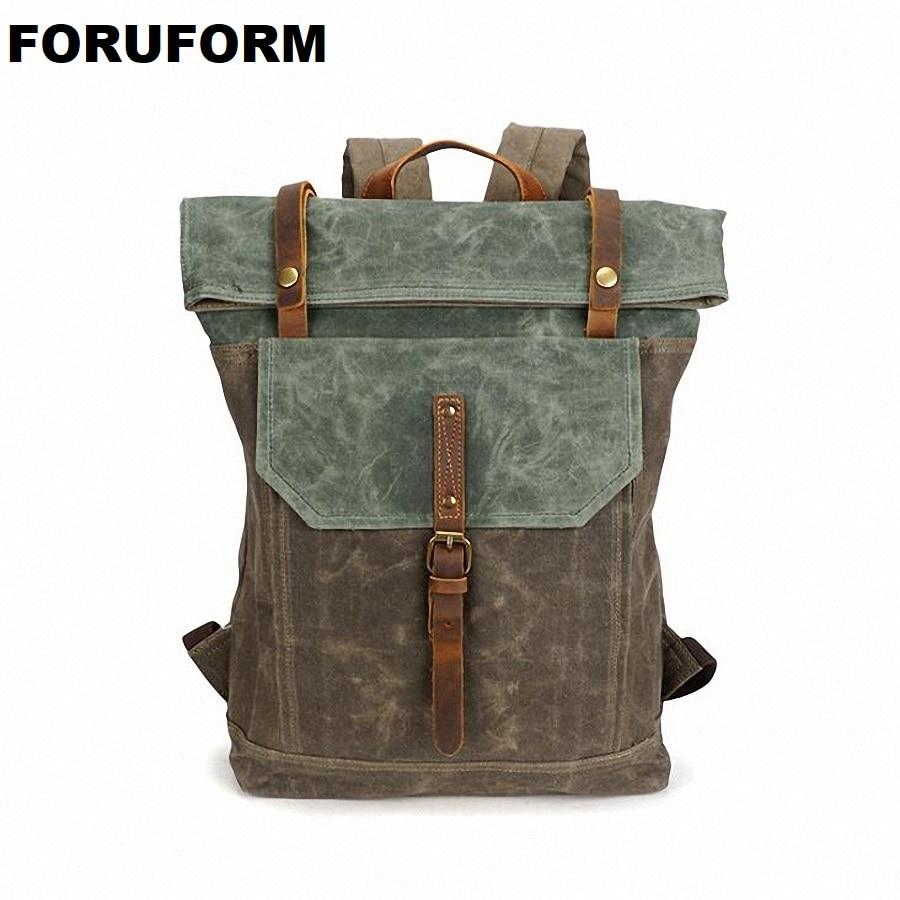 Waterproof Backpack Men Canvas Travel Shoulder Rucksack Vintage Large Capacity Youth Boy Laptop Backpack Military School Bag