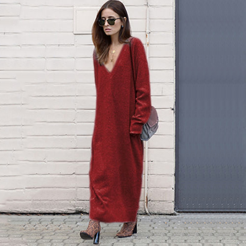 Women Maxi Sweater Dresses Autumn Winter Loose Knitted Long Dress Women Casual V-Neck Dress Long Sleeved Vestidos WS4221T