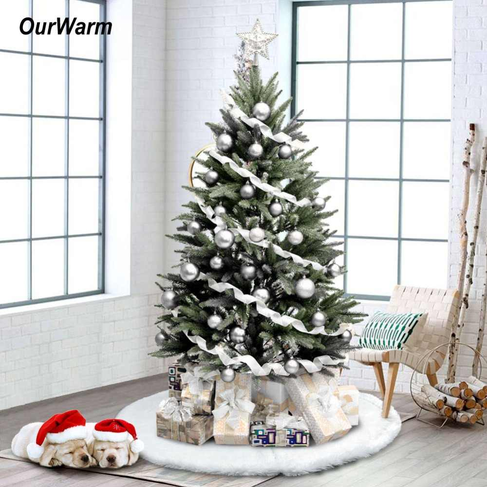 Ourwarm 122cm White Plush Christmas Tree Skirts Luxury Faux Fur Xmas Tree Carpet Christmas 2018 New Year Decoration For Home Aliexpress