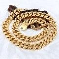 Золотое квадратное ожерелье из нержавеющей стали  72 см (28 дюймов) * 20 мм 440 г  блестящее ожерелье для мужчин и женщин  регулируемая длина