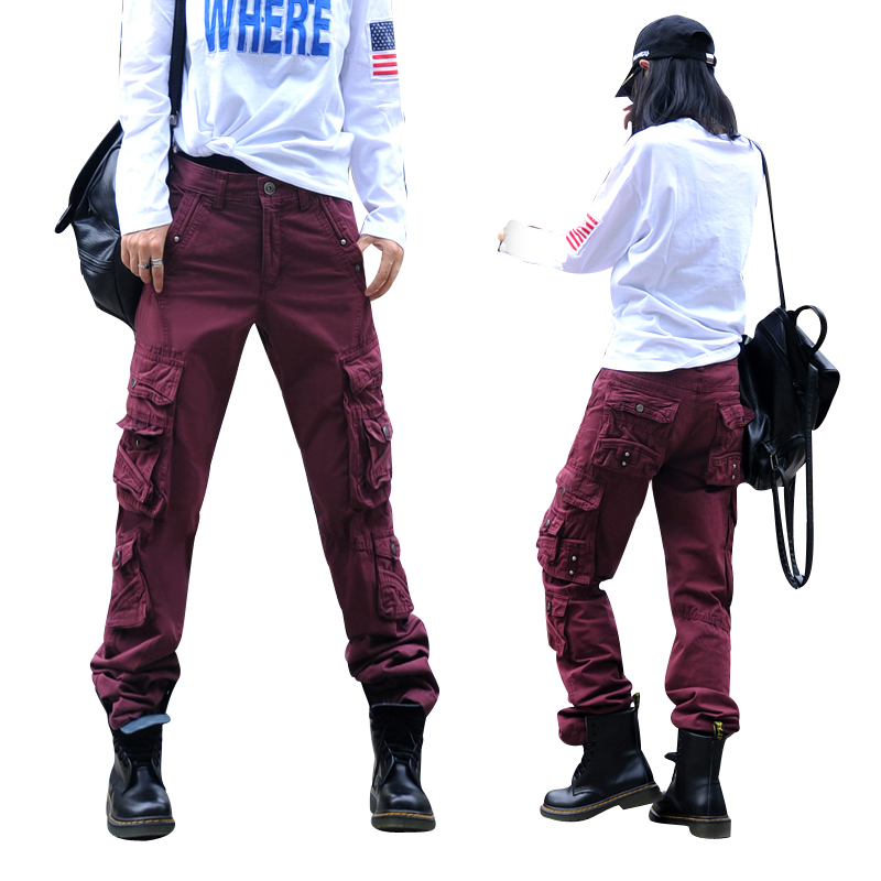 Fashion Loose Dance cargo pants women Dance trousers female hip-hop pants overalls multi-pocket trousers Straight pants female