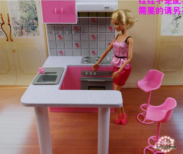 Free Shipping Kitchen accessories Girl birthday gift plastic Play Set doll Furniture for barbie doll 1/6 doll accessories free shipping new arrival christmas birthday gift children play set doll furniture living room tv accessories for barbie doll