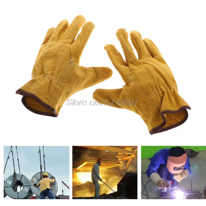 1Pair Cowhide Safety Protective Gloves Welding Welder Work Repair Wear-Resistant G08 Drop ship