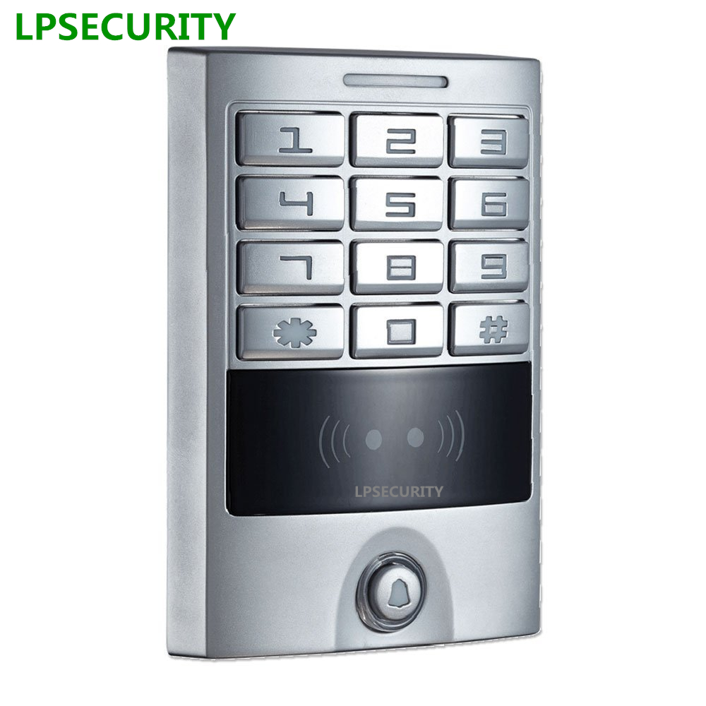 LPSECURITY Metal Case High Quality RFID proximity keypad reader for em door lock drop bolt access control system 125khz good quality metal case face waterproof rfid card access controller with keypad 2000 users door access control reader