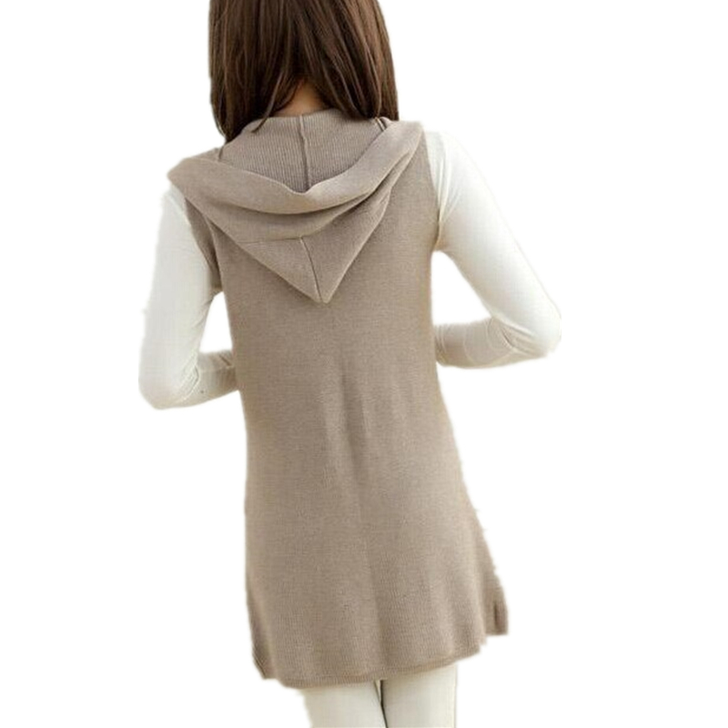 Cashmere wool blend Hooded Sweater Vest And Long Sections Knitted ...