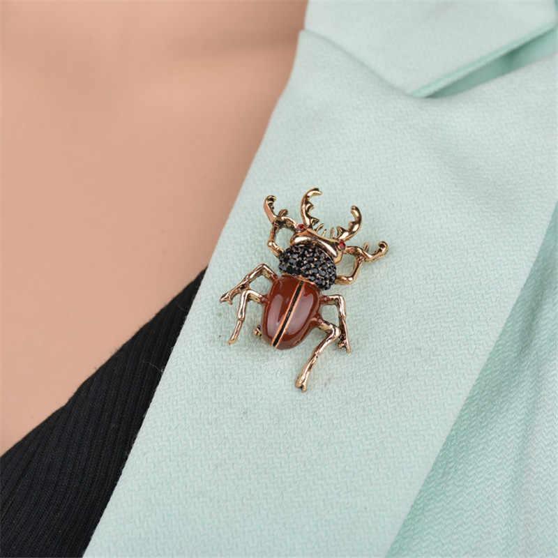 Più Raccolta Carino Insetto Brooch Animale Degli Uomini Dei Monili Del Rhinestone Dello Smalto Pin Beetle Spille Per Le Donne Bambini Distintivo Su Uno Zaino