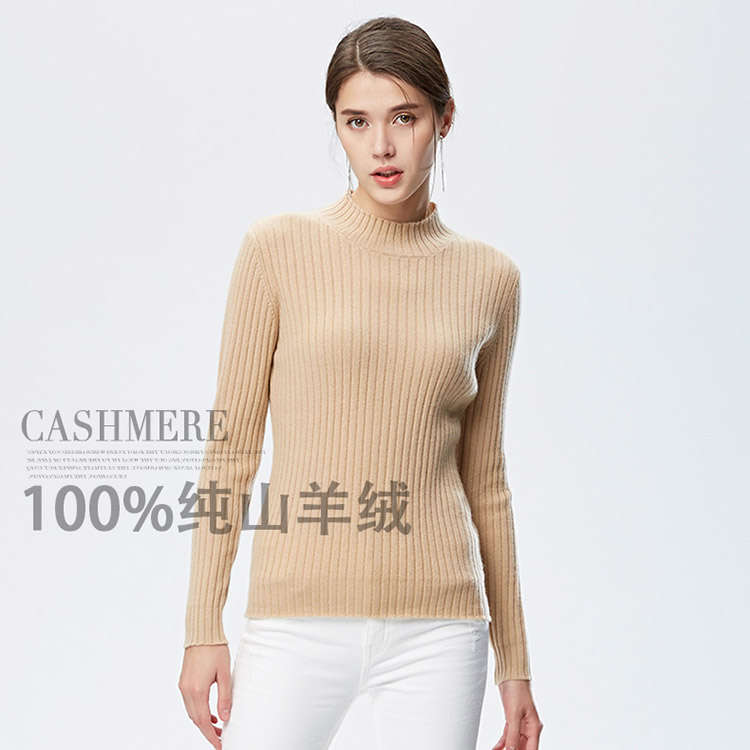 New Arrive 2018 Autumn Winter Women Sweater Cashmere Sweater Half Turtleneck Striped 100% Goat Cashmere Short Design Basic Shirt