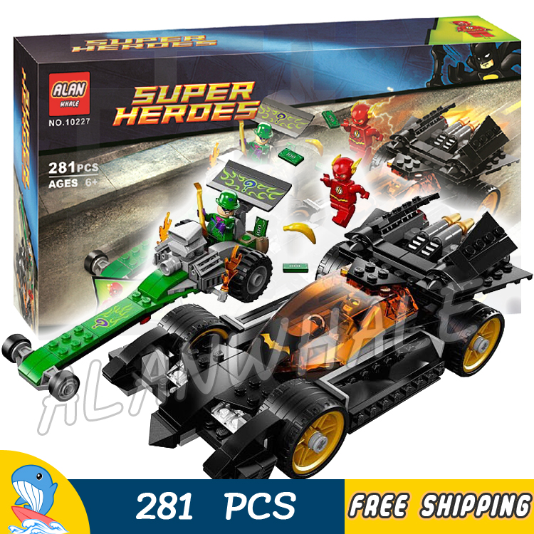 281pcs Super Heroes Batman Movie The Riddler Chase Flash Batmobile 10227 Model Building Blocks Toys Bricks Compatible with Lego 1496pcs new super heroes batman the ultimate batmobile set 07077 diy model building blocks toys brick moive compatible with lego