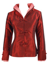 Free Shipping New Chinese Women's Polyester Satin Jacket Spring Flowers Coat burgundy Size S M L XL XXL XXXL MN 0015