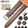 Correas de Reloj de Cuero Real Negro Marrón Suave Correa de Reloj Mujeres de Los Hombres Relojes Hombre de Metal Cinturón de Hebilla de Cuero Genuino H5
