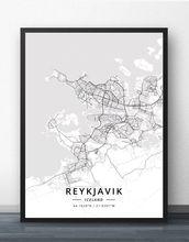 Рейкьявик исландский плакат с картой