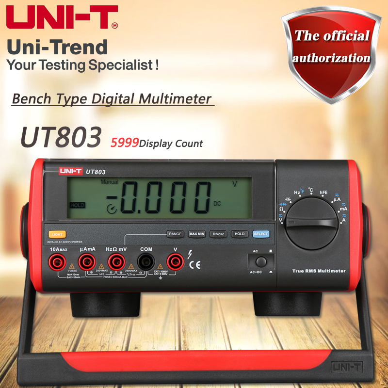 UNI-T UT803 Desktop Digital Multimeter High Precision True RMS Multimeter Resistance / Capacitance / Frequency / Temperature Tes victor victory multimeter vc86e 4 1 2 digit precision multimeter frequency capacitance temperature with usb