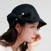 5479d14e58d34 100% lana perlas sombrero de fieltro negro de las mujeres sombreros de las  mujeres cóctel Vintage de boda de moda Derby Fedora C..