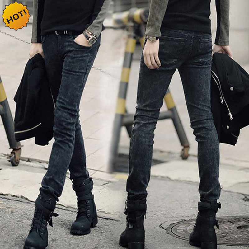 High Quality 2019 Fashion Men Cotton Dark Grey Stretch Skinny Jeans Men Teenagers Pencil Pents Snow Track Pantalon Homme 28-34
