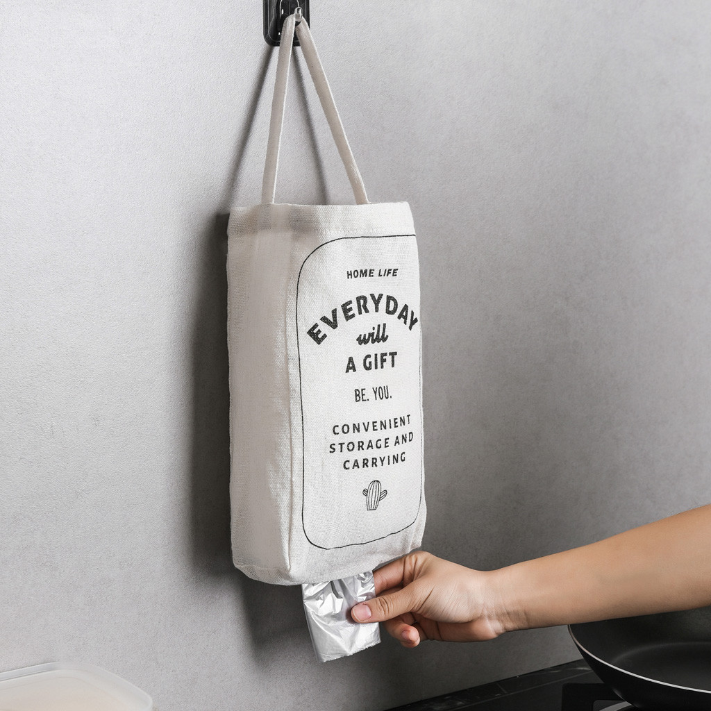 Cotton and linen Cupboard Door Back Trash Rack Storage Garbage Bag Holder Hanging Kitchen Cabinets Storage Towel Shelf Holders