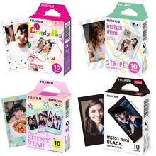 Fujifilm Instax Mini Film Mini 9 Photo Paper 10/20/30 Sheets Black Candy Pop Shiny Star Sripe For Instant Mini 7s 8 9 11 Camera