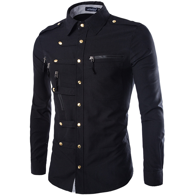 New Arrival Spring/Autumn Men Long Sleeve Cargo Shirt Casual Slim Fit Fashion Epaulet Double Pocket Mens Dress Shirt M L XL XXL