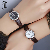 Luobos New Fashion Watch Women Simple Elegant Style Leather Strap Small Sliver Dial Casual Quartz Watch