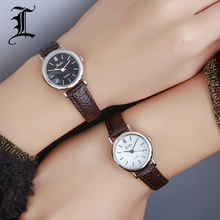 Luobos New Fashion Watch Women Simple Elegant Style Leather Strap Small Sliver Dial Casual Quartz Watch Ladies Popular Clock