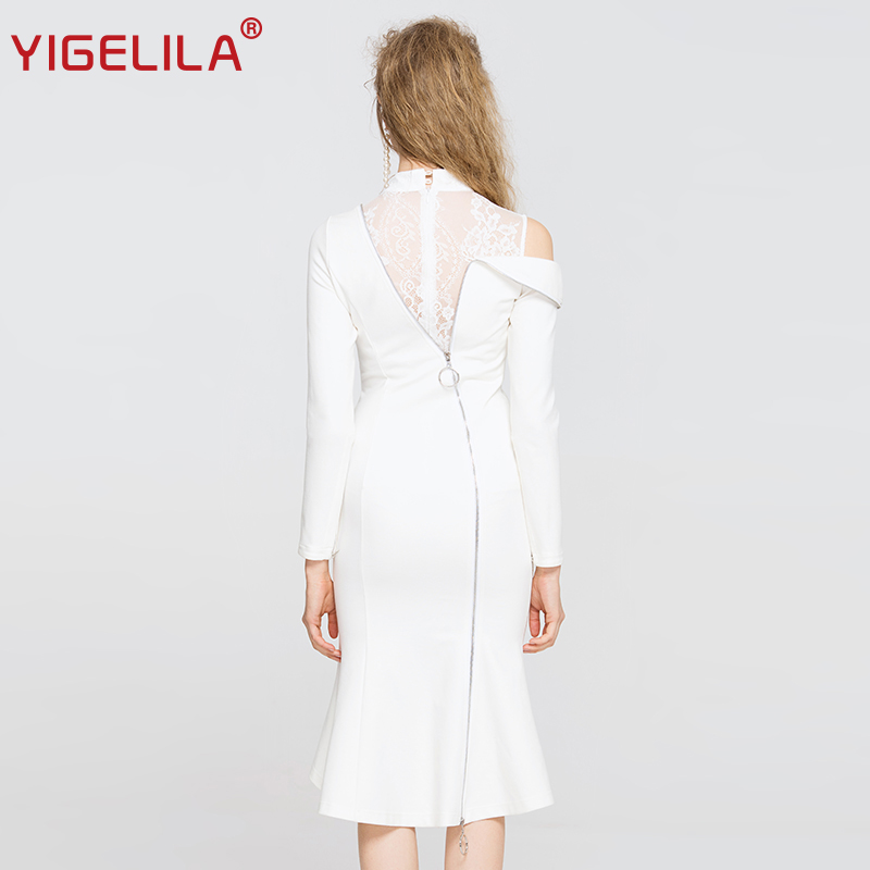 Patchwork Manches cou Solide 63252 Moulante Robe Automne Mode Asymétrique Sirène 2018 O Blanc Dentelle Yigelila Pleine Femmes xwOBPpqwz