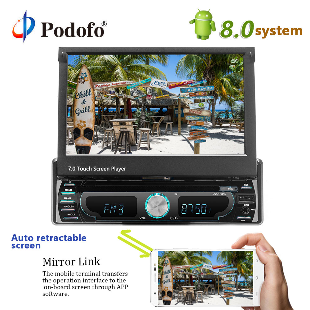 Podofo Car Radio DVD Player 1Din 7'' Touch Screen Bluetooth GPS Car Audio USB FM MP5 Auto Radio Car Multimedia Player Autoradio
