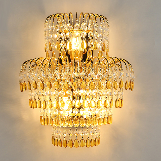 Crystal Wall Lamp Living Room Gold Wall Sconce Classic Wall Lights for Bedroom Gold Wall lamp Crystal Light for Dining Room