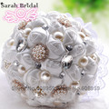 In Stock Gorgeous Pealrs Crystal Wedding Bouquet Artificial Sapphire Rose Bridesmaid Flower Pearl Bridal Bouquets WF009