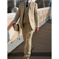 2017 Beige Linen Summer Beach wedding suits for men Slim Fit 3 Piece Groom Tuxedo Custom Blazer Prom mens Suit smoking masculino