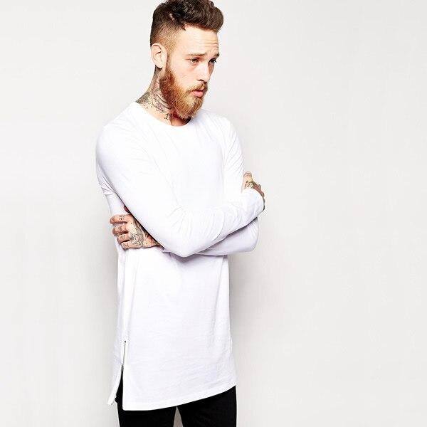 189b6e2ade34 EU size loose t shirt Mens Black long sleeve streetwear long shirt hip hop  zipper slip side shirt punk tees for men black tshirt