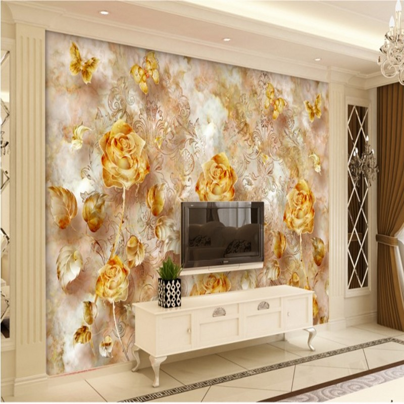 Large 3d European Pearl And Rose Jewelry Tv Background: Beibehang Large Custom Wallpapers European Retro Gold