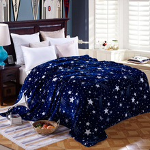 Home Textiles Blue Bright Stars Style Coral Fleece Blankets On Bed The Throws Warm Soft Can